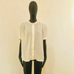 Vintage Sheer Ivory Blouse w/ Lace Collar sz M